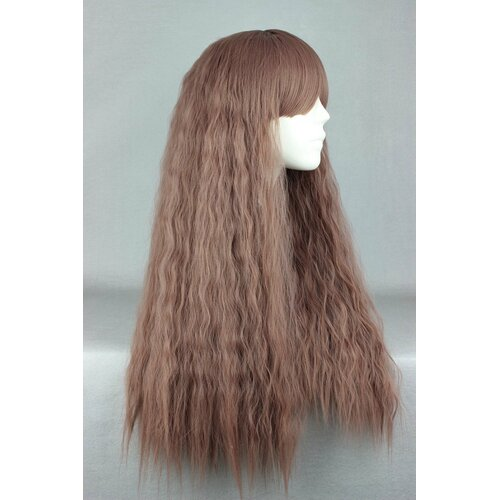 Ladieshair Cosplay Perücke Braun/Lila Mix lockig 70cm