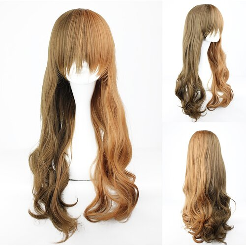 Ladieshair Cosplay Perücke Braunmix lockig 60cm