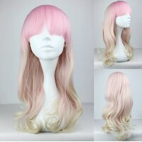 Ladieshair Cosplay Perücke Blond/Rosa lockig 55cm