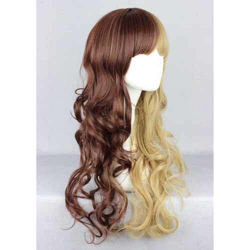 Ladieshair Cosplay Perücke in braun und blond wellig ca. 60cm
