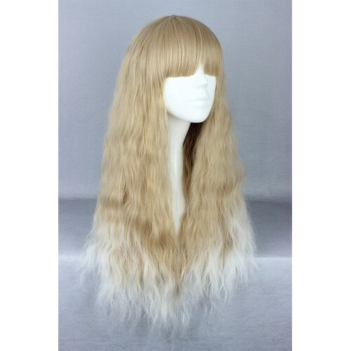 Ladieshair Cosplay Perücke blond lockig mit geradem Pony 70cm