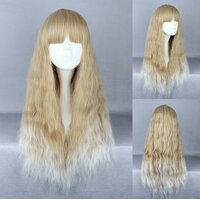 Ladieshair Cosplay Perücke blond lockig mit geradem Pony...