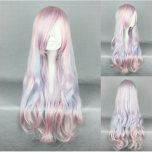 Ladieshair Cosplay Perücke rosa blau wellig mit Pony 70cm