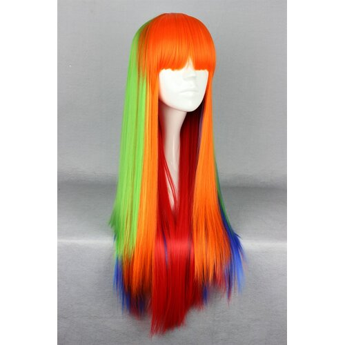 Ladieshair Cosplay Perücke orange grün blau rot glatt mit Pony 75cm