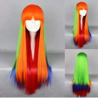 Ladieshair Cosplay Perücke orange grün blau rot glatt mit...