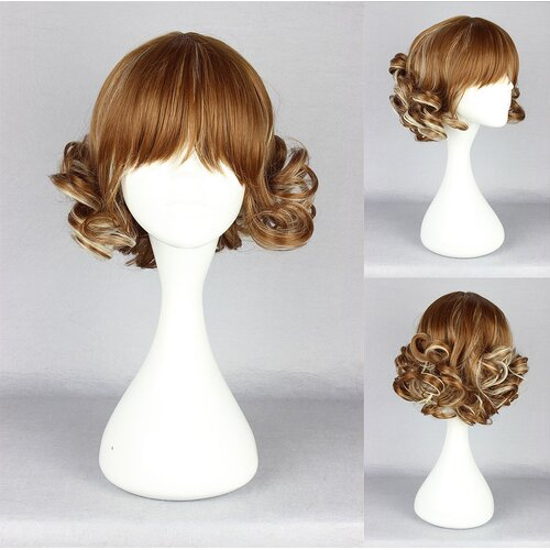Ladieshair Cosplay Perücke braun lockig gerader Pony 30cm
