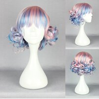 Ladieshair Cosplay Perücke rosa blau mix lockig mit Pony...