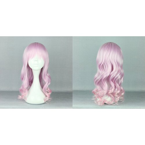 Ladieshair Cosplay Perücke rosa wellig mit Pony 55cm