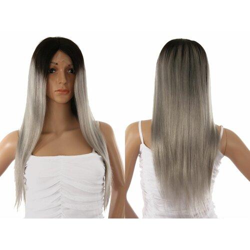neueste Bestbewertet echt klassische Stile Ladieshair Front Lace Wig Echthaarperücke ca. 55cm in Silber ...