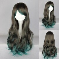 Ladieshair Cosplay Perücke braun grün 68cm wellig Dipdyed...