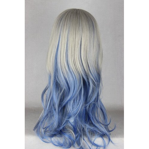 Ladieshair Cosplay Perücke grau blau 60cm wellig Dipdyed Hair