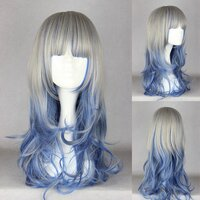 Ladieshair Cosplay Perücke grau blau 60cm wellig Dipdyed...