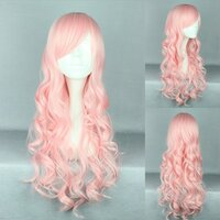 Ladieshair Cosplay Perücke rosa 70cm lockig
