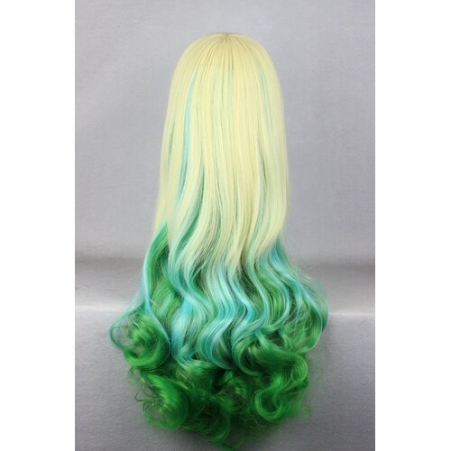 Ladieshair Cosplay Perücke blond grün 75cm lockig Dipdyed Hair