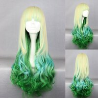 Ladieshair Cosplay Perücke blond grün 75cm lockig Dipdyed...