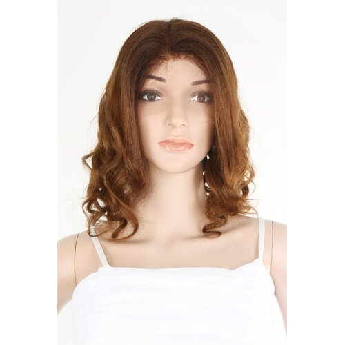 Ladieshair Full Lace Wig Echthaarperücke in braun 47cm lockig HNR-F752