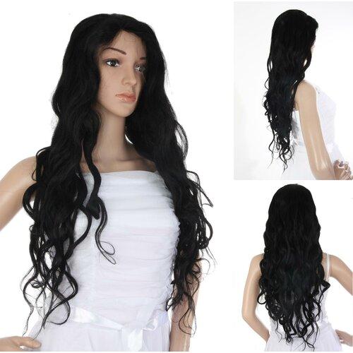 moderner Stil näher an Bestbewertete Mode Ladieshair Full Lace Wig Perücke in schwarz 76cm indisches ...