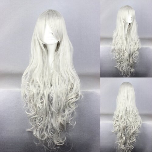 Ladieshair Cosplay Perücke weißgrau 90cm lockig Angel sanctuary Rosiel
