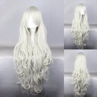 Ladieshair Cosplay Per�cke wei�grau 90cm lockig Angel...