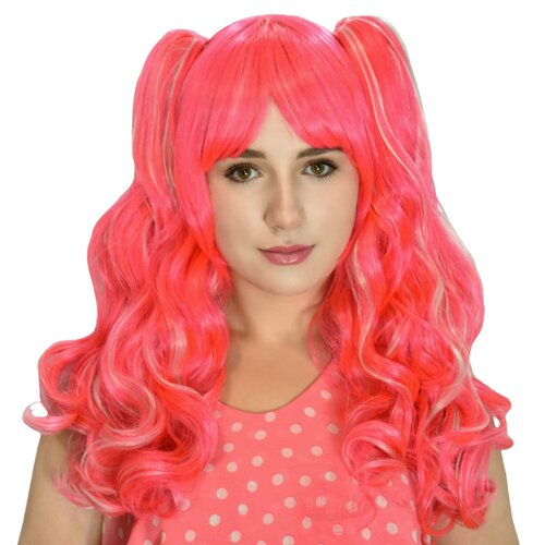 Ladieshair Cosplay Perücke pink 70cm wellig Lolita Cosplay