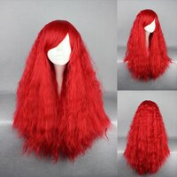 Ladieshair Cosplay Perücke rot 70cm lockig