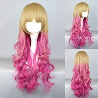 Ladieshair Cosplay Perücke blond pink 65cm lockig Dipdyed...