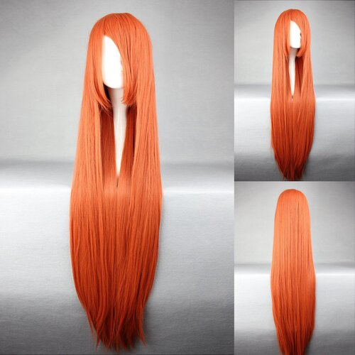 Ladieshair Cosplay Perücke orange 100cm glatt Bleach INOUE ORIHIME