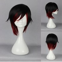 Ladieshair Cosplay Perücke RWBY - Ruby Rose schwarz/rot 35cm
